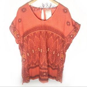 Free people orange beaded Knit Blouse